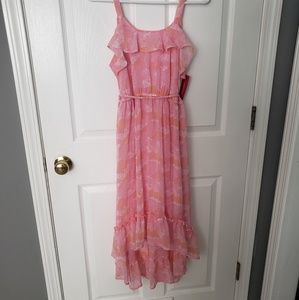 Bnwt pink belted girls dress with ruffles.